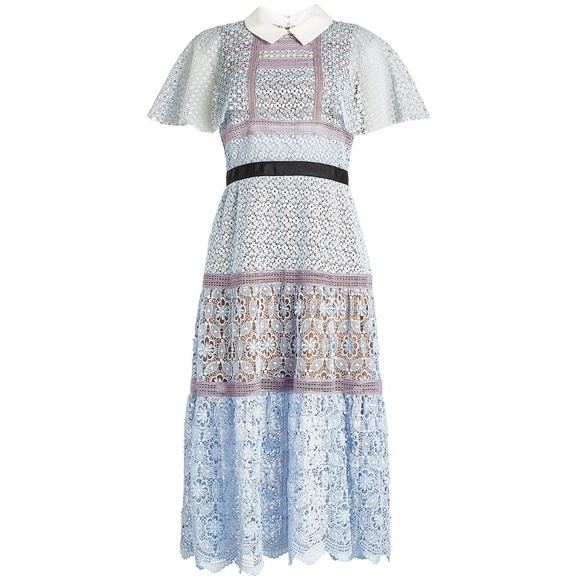 cddb029f9cce Self-Portrait Dresses | Selfportrait Light Blue Cape Guipure Lace ...